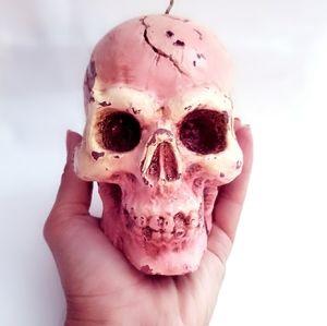 Gory Fleshtone Human Skull Candle / Incense Holder